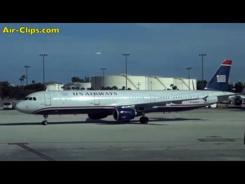 US Airways (American Airlines) Airbus A321 First Class Miami-Charlotte full flight [AirClips]
