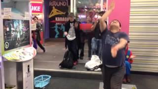 Fat Japanese Guy kills it at Dance Arcade Video Game