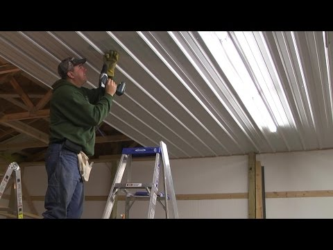 Pole Barn Menard's Pro-Rib Steel Ceiling Install with PanelLift Drywall lift