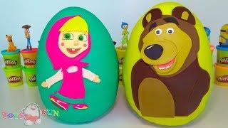 Mascha und der Bär große Überraschungseier aus Spielknete Masha and the Bear Surprise Egg