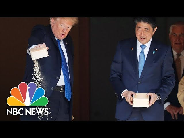 President Donald Trump Dumps Fish Food At Tokyo's Akasaka Palace Feeding Ceremony | NBC News