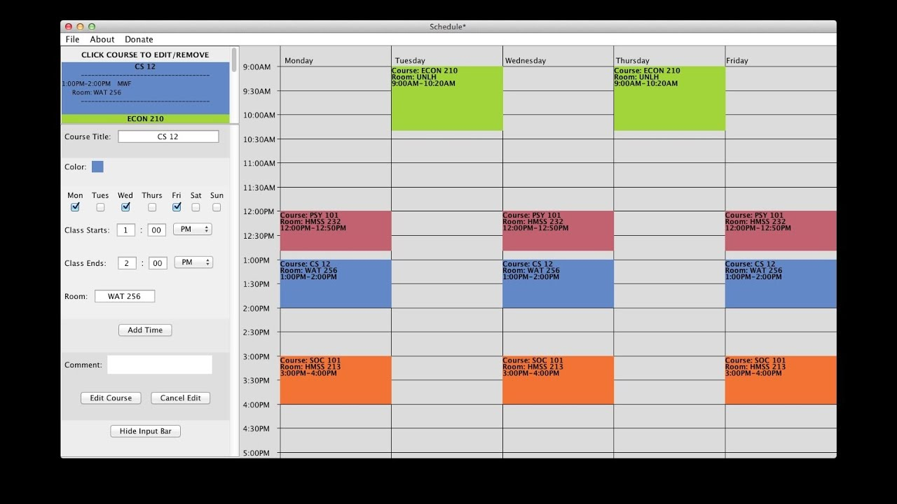 College Schedule Template Excel