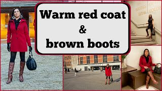 Crossdresser - in Amsterdam - red coat and brown high heeled boots | NatCrys