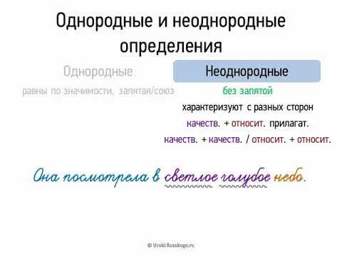 Однородные и неоднородные определения (8 класс, видеоурок-презентация)
