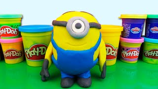 Giant Minions made of Play Doh and Kinder Surprise Egg Despicable Me PlayDough Миньоны Плей До