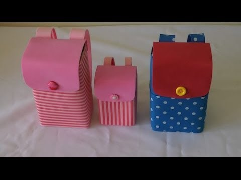 Mochilinhas feitas com caixa de leite para lembrancinhas