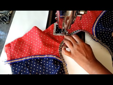Brindle Blouse Back Neck Designs // Double Colour Blouse Designs // Simple Designs Blouse Cutting