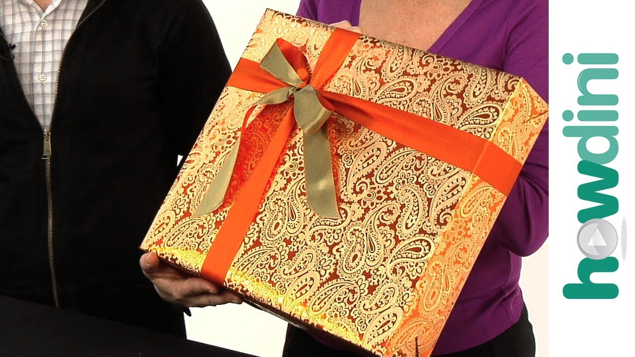 how to tie a ribbon onto a gift box youtube. Black Bedroom Furniture Sets. Home Design Ideas