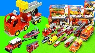 Spielzeug Feuerwehrautos von Feuerwehrmann Sam, Lego und Dickie Toys als Unboxing Kinderfilm