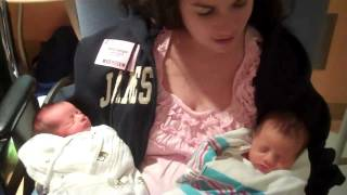 Emily holds Olivia & Audrey for the first time!