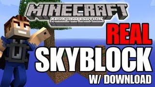 "Minecraft (Xbox 360) REAL SKYBLOCK ""NO GROUND"" w/ Download - Modded Map showcase!"