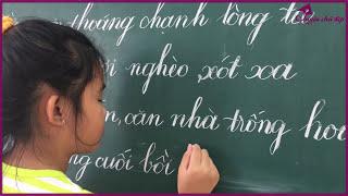 Chữ Viết Của Học Sinh   BÉ PHƯƠNG VY 9 TUỔI TẬP VIẾT BẢNG   Luyện Chữ Đẹp Cần Giuộc