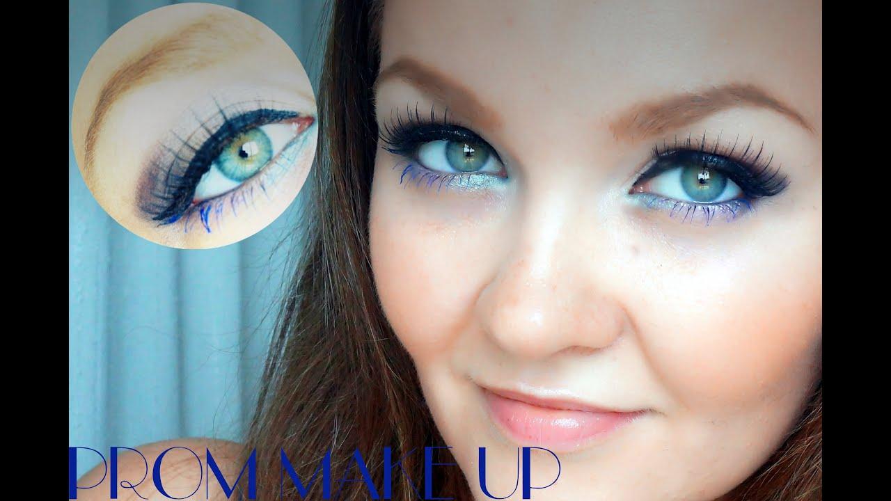 Макияж для карих глаз с синей тушью фото