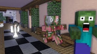 Monster School : Grandpa and Bent Neck Lady - Minecraft Animation