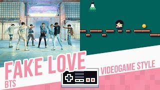 FAKE LOVE, BTS - Videogame cover - 8 bits