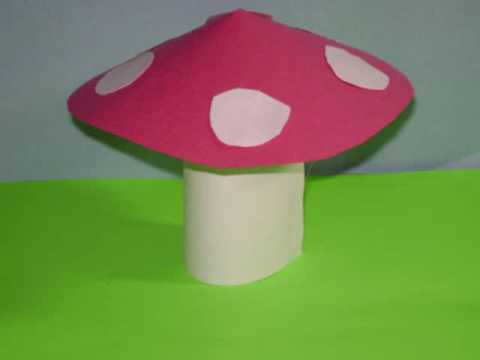 Recycled Kids Crafts:  Toy mushroom from a toilet paper tube