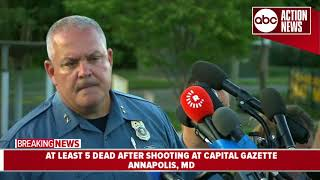 Officials give update on fatal shooting at Capital Gazette newspaper in Annapolis, MD