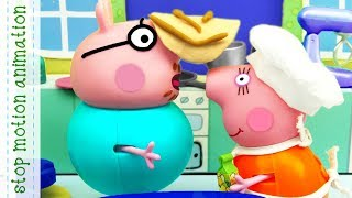 Pancakes Peppa Pig TV toys stop motion animation in english