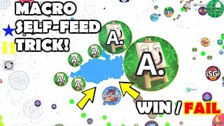 MACRO SELF-FEED TRICK // BEST SOLO TAKEOVER / DESTROYING TEAMS IN AGARIO MOBILE/ LEVEL 3 HACKED SKIN