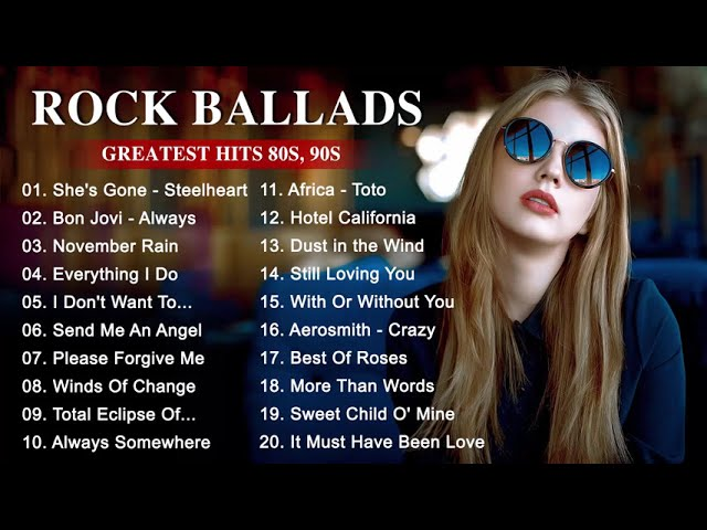 Best Rock Music Playlist 2019 - Greatest Rock Ballads of The 8039s and 9039s