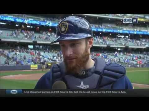 Brewers' Lucroy gets a kiss from Maldonado during postgame interview