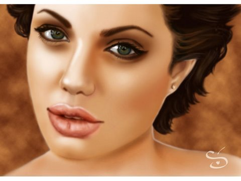 0 Digital Painting   ANGELINA JOLIE with photoshop by Stephanie Valentin