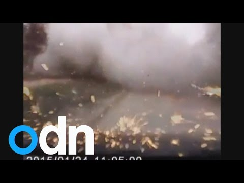Dashcam footage caught the moment shells hit a residential area in Ukraine\'s strategic port of Mariupol on Saturday. Report by Claire Lomas.