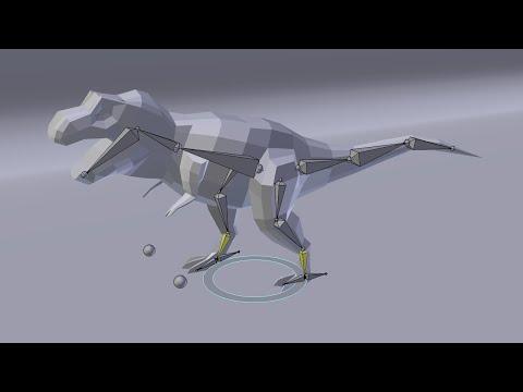 Анимация ходьбы динозавра в Blender
