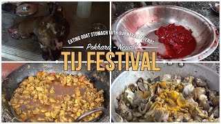 Eating goat stomach at crazy party with our Nepali friends - Tij Festival