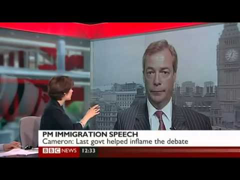 BBC News   UKIP Nigel Farage responds to David Cameron Immigration speech April 2011