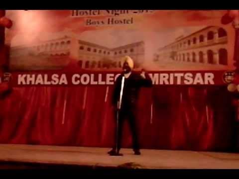 sheran de dereyan te by harman chahal at khalsa collage amritsar...