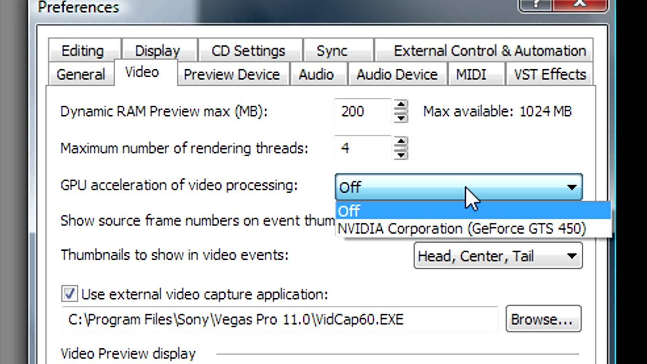 Enabling GPU Acceleration in Sony Vegas Pro - YouTube