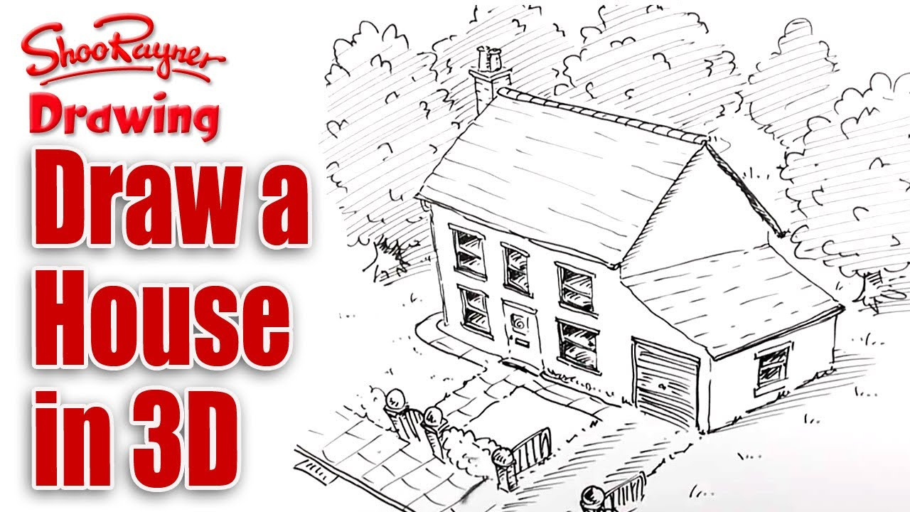 How to draw a house in 3d bird 39 s eye view youtube 3d house drawing
