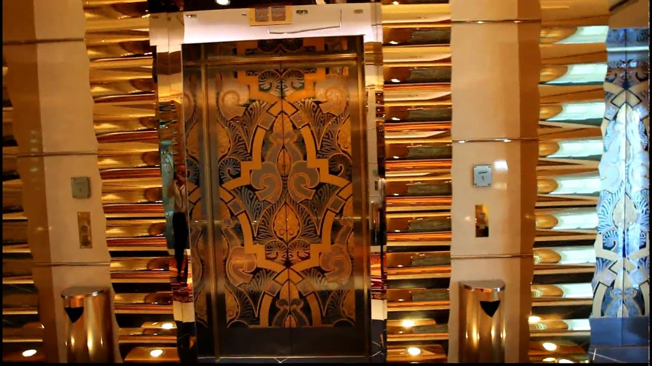 Burj al Arab Dubai, gold, gold, golden elevators,HD ... Burj Al Arab Elevator Inside