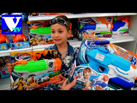 VLOG Магазин игрушек: NERF и AQUAPOWER водные пистолеты. AquaGun toys Nerf vs Aquapower
