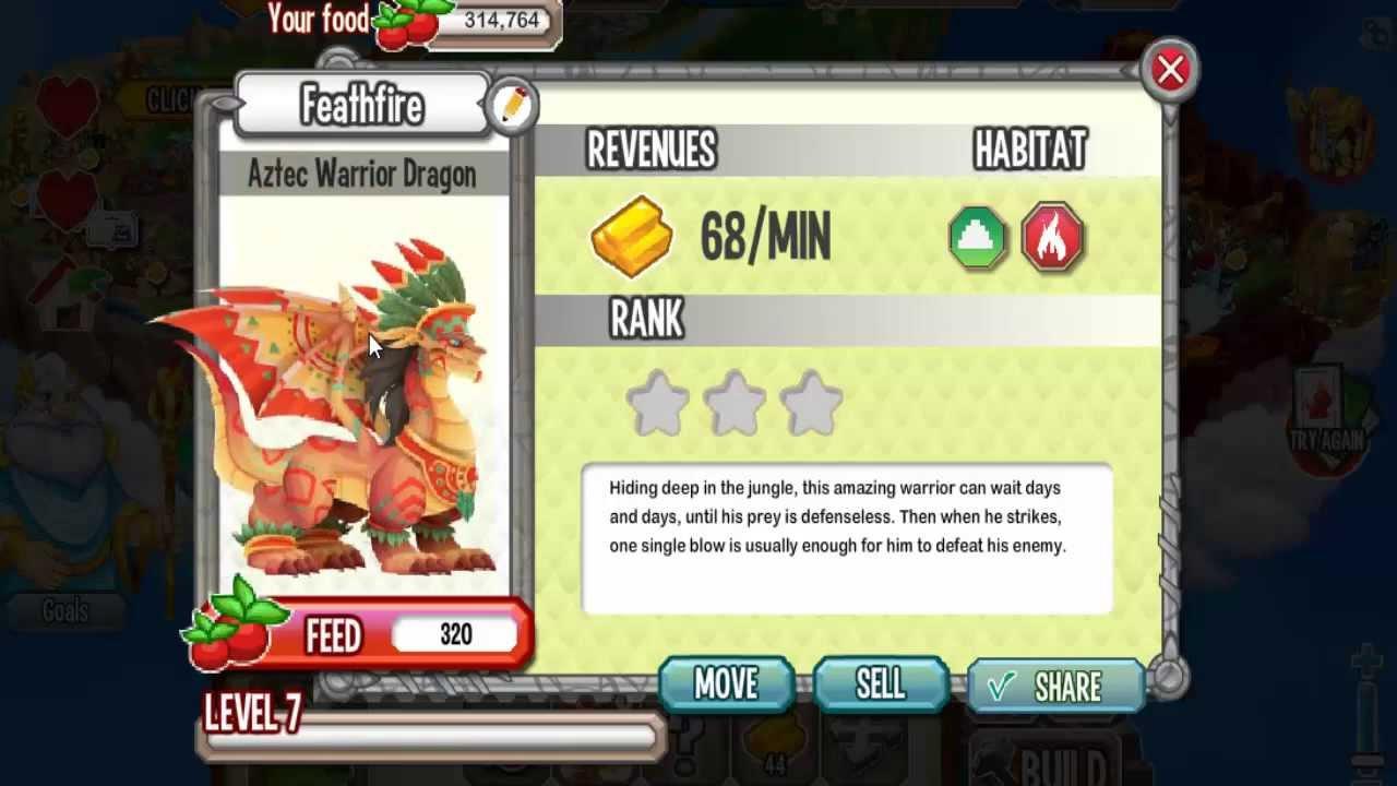 Dragon City- Aztec Warrior Dragon! - YouTube