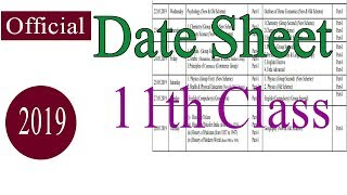 1st year Date Sheet 2019 | 11th Class Date sheet 2019 | FSC Date Sheet 2019