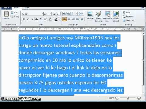 Windows 7 comprimido 10 Mb todas la versiones