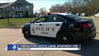 Kenosha fire crews battle large apartment fire