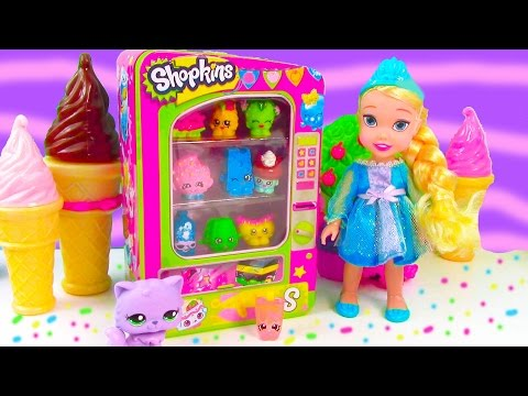 LPS Shopkins Vending Machine Playset Disney Frozen Toddler Queen Elsa Review Unboxing