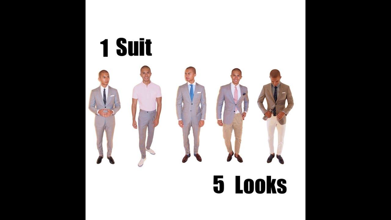 How to Wear a Grey Suit ( one suit five looks) - YouTube