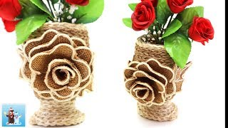 Burlap and Jute Flower Vase with Rose Art and Craft Ideas Handcraft