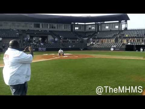 J-Que Throws The First Pitch at Rice Baseball Game