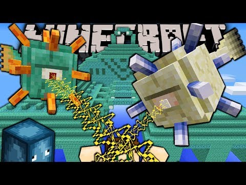 Minecraft 1.8 Snapshot: Guardian Monster Elder Boss Ocean Monument New Prismarine Block Sponge