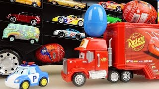 Cars Carrier and truck surprise eggs and Robocar Poli car toys