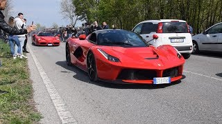 Supercars leaving Cars and Coffee Italy Brescia 2019! Crazy accelerations parade!!
