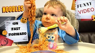 BABY EATING NOODLES WITH PASTA SAUCE ! JOSHUA'S FAVOURITE MEAL ! FUNNY VIDEO
