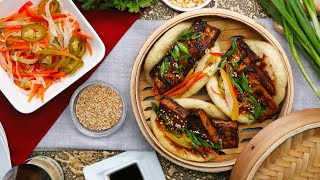 How to Make a Glazed Tofu Steamed Bun with Pickled Vegetables Recipe • Tasty