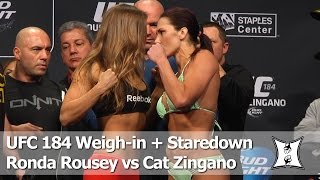 UFC 184: Ronda Rousey vs Cat Zingano Weigh-in and Staredown (HD / Complete / Unedited)