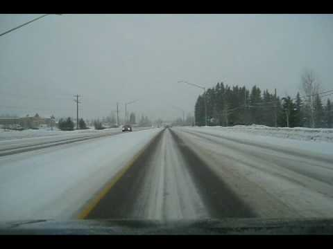 Winter drive from Kalispell to Whitefish Montana
